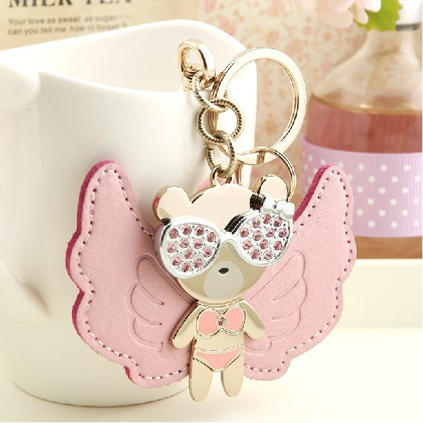 Milesi New 2014 Brand Hip Hop Flying Bear Key chain Keychain Trinket Key Holder Ring Novelty Gift Bag Pendant Women Rhinestone