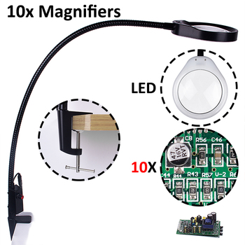 10X magnifying glass with led light table lamp glasses magnifier pendant loupe soldering helping hands magnification binoculars