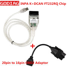 BMW INPA K + CAN için K CAN INPA FT232RL çip USB arabirimi için BMW K CAN Inpa ve BMW 20pin to obd2 16 Pin konnektörü(China)