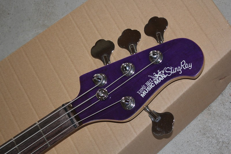 Wholesale High quality Purple Music Man StingRay 4 string Electric Bass guitar with 9 V Battery active pickups -14-1221