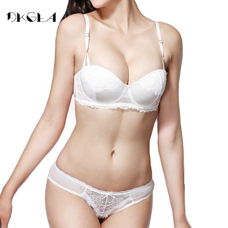 Buy Fashion White Bra Panties Sets Push Bra Set Lingerie Sexy Brassiere Black Embroidery Underwear Set Deep V Bras B C Cup