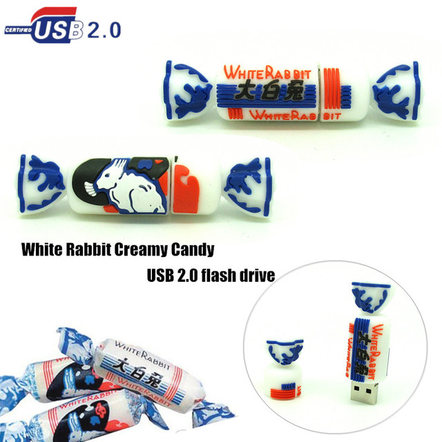 funny Chinese sweets Candy usb flash drive disk memory stick White Rabbit pendrive Pen drive 4GB 8GB 16GB 32GB mini PC gift