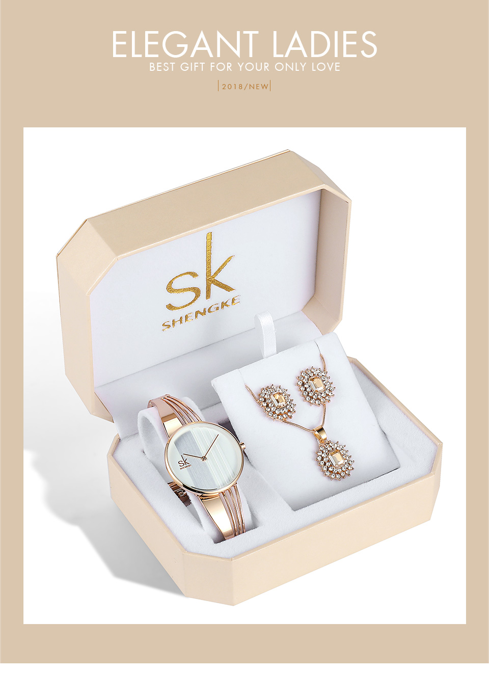 91dff6e3c9ac Shengke Rose Gold Women Watches Set Luxury Ladies Quartz Watch With ...