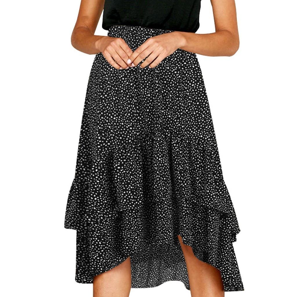 Women Ladies Elegant Fashion Casual Ruffle Wave Midi Skirt Korean Design Small Dot Printed Frill Wrap Midi Skirt Rokjes Dames #W