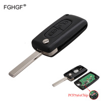 FGHGF 2 Кнопки 433 МГц PCF7961 Транспондера Chip Дистанционного Брелока Для Peugeot 207 307 308 407 Автозапуск Fob Автосигнализации HU83 Лезвия