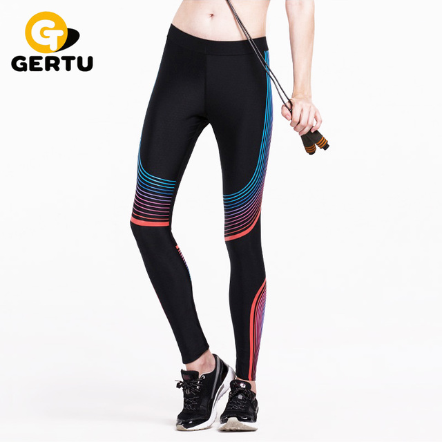 GERTU 2016 Compress Sporting Leggings Men Women Fitness Workout Pants Summer Thin Strip Fitness Sporting Women Leggings S-XL