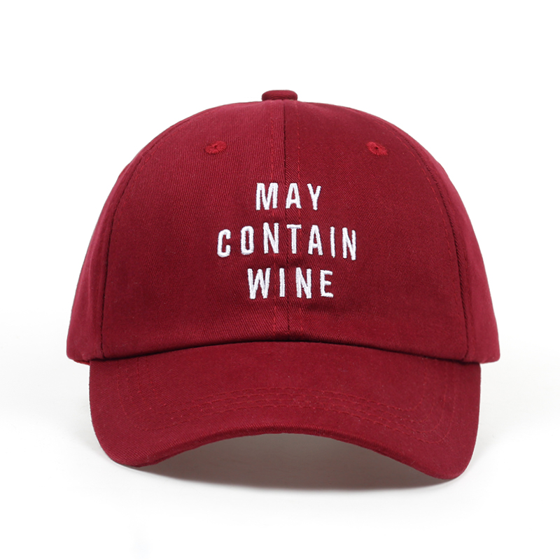 MAY CONTAIN WINE Embroidery Baseball Cap Wine Red Dad Hat 100% Cotton Fashion Unisex Snapback Women Men Adjustable Casquette fashion cotton baseball cap women vintage anchor snapback hat for men casual patch dad cap summer trucker hat casquette bones