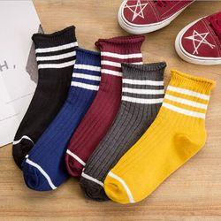 Женские носки в полоску, теплые эластичные носки до щиколотки, модные разноцветные