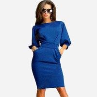 Elegant Vintage Solid Dress Half Sleeve Work Business Sheath Dress Women Bow Mini Bodycon Dresses Vestidos