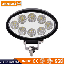 24W Led Work Light 12V 24V Oval led lights Flood Beam for John Deere Tractor Truck Car SUV ATV 8 LEDs 24W Led Working lamp x1pc