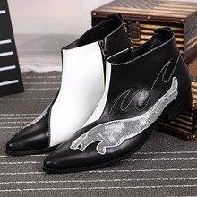 Hohe Qualität Pailletten Spitz Reißverschluss Stiefeletten Männer Fashion Plus Size Kurze Stiefel Party Hochzeit Leder Schuhe Size38-46