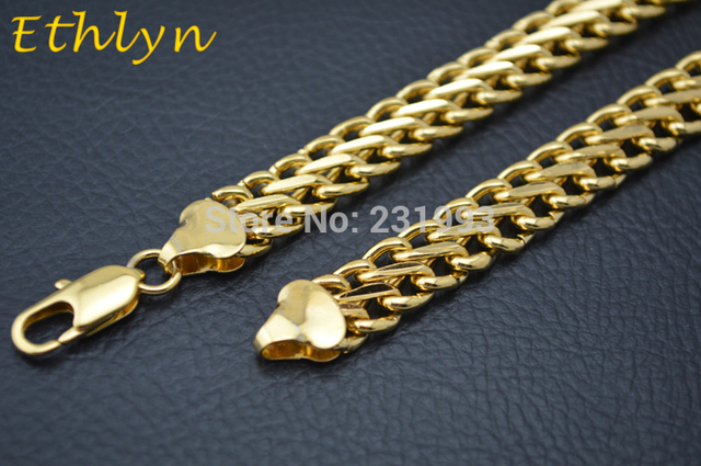 Ethlyn Широкий Мужчины Сеть подгонять размер 10 мм и 55 см позолоченные мужская ожерелье цепь