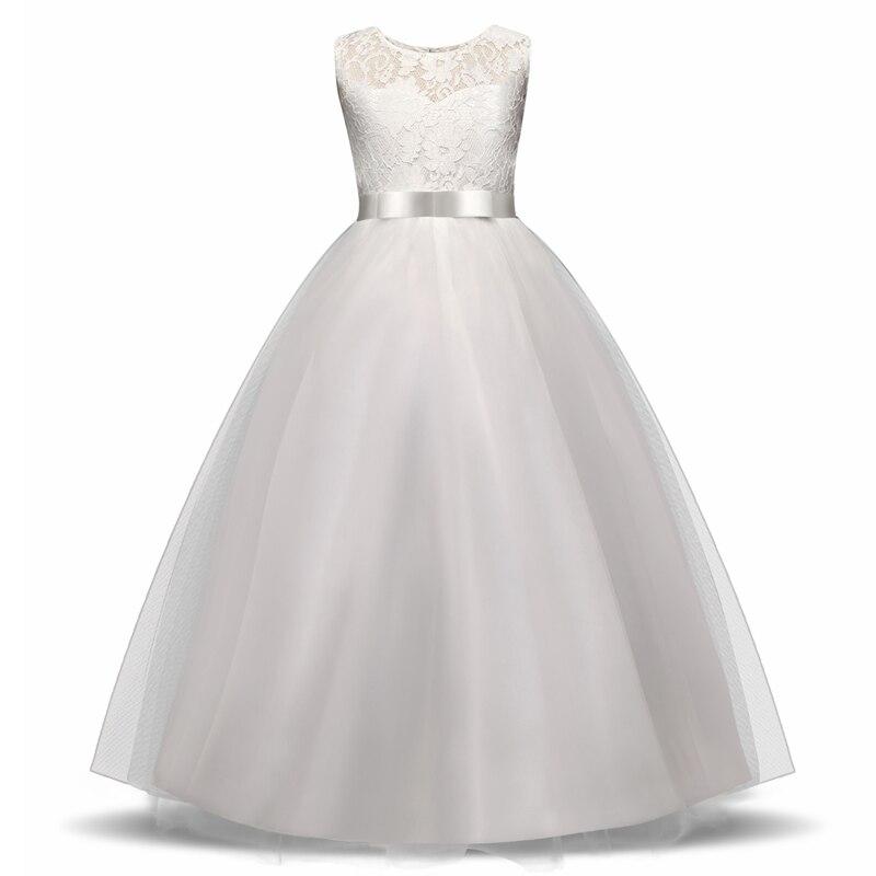 Elegant Flower Girl Dress Teenage White Formal Prom Gown for Wedding Kids Girls Long Dresses Children Clothing New Tutu Princess 1
