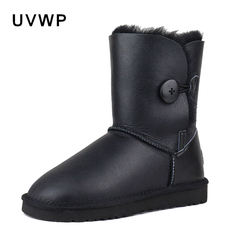 Top Quality Genuine Sheepskin Leather Women's Snow Boots 100% Natural Fur Warm Wool Inside Winter Boots Women Boots Winter Shoes-in Mid-Calf Boots from Shoes    1