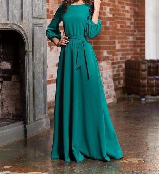 f993cf07db WBCTW Vintage Dress Wine Red Summer Elegant O Neck Long Sleeve Dress Women  Fashion Chiffon Maxi Dress 2019 High Waist Dress-in Dresses from Women's  Clothing ...