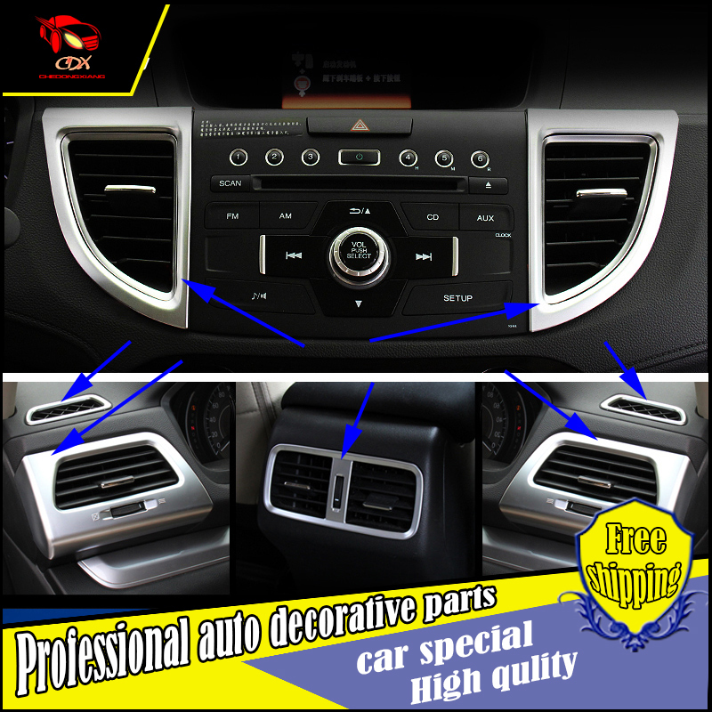 car-Styling ABS chrome air outlet Cover trim for Honda CRV 2015 2016  storage box air outlet cover decorate Accessories 7PCS/set
