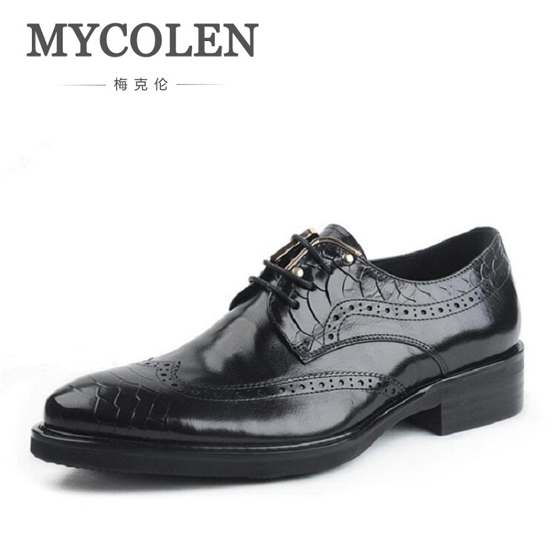 MYCOLEN Genuine Leather Bullock Men Flats Shoes British Style Men Oxfords Brand Business Fashion Designer Dress Shoes For Men desai brand genuine leather shoes men oxfords shoes british style carved brown brogue shoes lace up bullock business men s flats