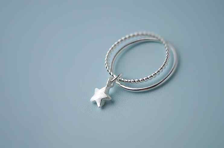 925-STERLING-Mặt Bạc Đôi Ngôi Sao Hở Cho Nữ, Nhẫn Nữ Thời Không Gây Dị Ứng Mặt Dây Chuyền Trang Sức Bạc VRS2041
