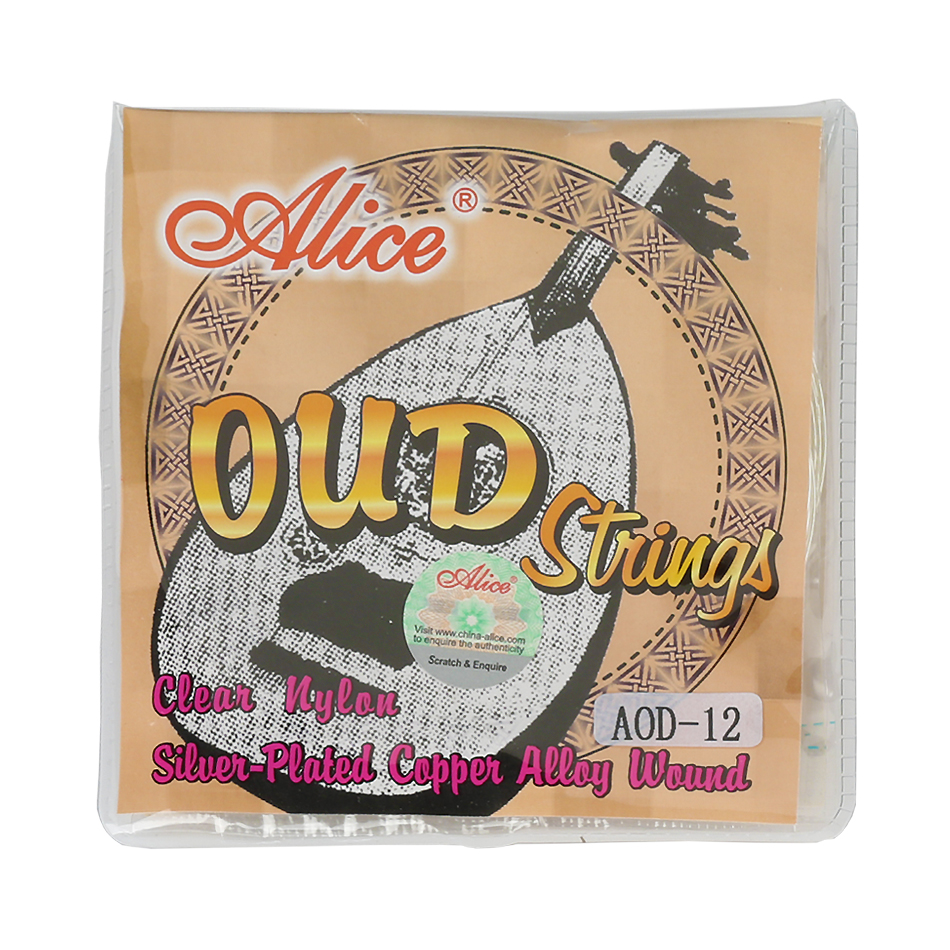 Original Alice AOD-12 OUD Strings UD/UT 12 Courses Strings Clear Nylon And Silver-Plated Copper Alloy Wound rotosound cl2 strings regular end nylon