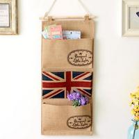 High Quality Practical 3 Pockets Jute Naturally Letters Wall Hanging Storage Bags Organizer 0586