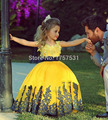 2017 Girls Pageant Dresses Ball Gown Cap Sleeves Satin Appliques Yellow Tutu Little Baby Flower Girl Dresses For Weddings