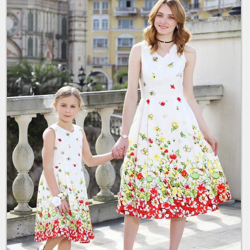 Summer family look mommy Kids girls 100-160cm Clothing children party formal dress mother and daughter matching jacquard dresses summer family look kids girls 100 160cm clothes children short sleeve floral dress mother and daughter matching pleated dresses