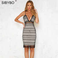 Sibybo Sexy Club Summer Lace Dress Women Elegant White Embroidery Floral Evening Mini Bodycon Bandage Party