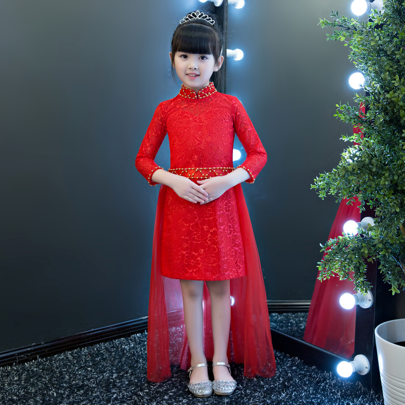 Free shipping New Red Chinese Style costume baby Kid Child Girls Cheongsam Lace Dress Qipao straight Princess Birthday Dress dress coat traditional chinese style qipao full sleeve cheongsam costume party dress quilted princess dress cotton kids clothing