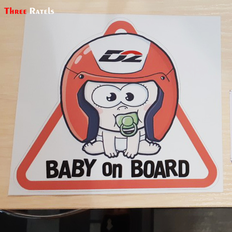 Three Ratels LCS156# 16x14.2cm Baby On Board Colorful Car Sticker Funny Car Stickers Styling Removable Decal