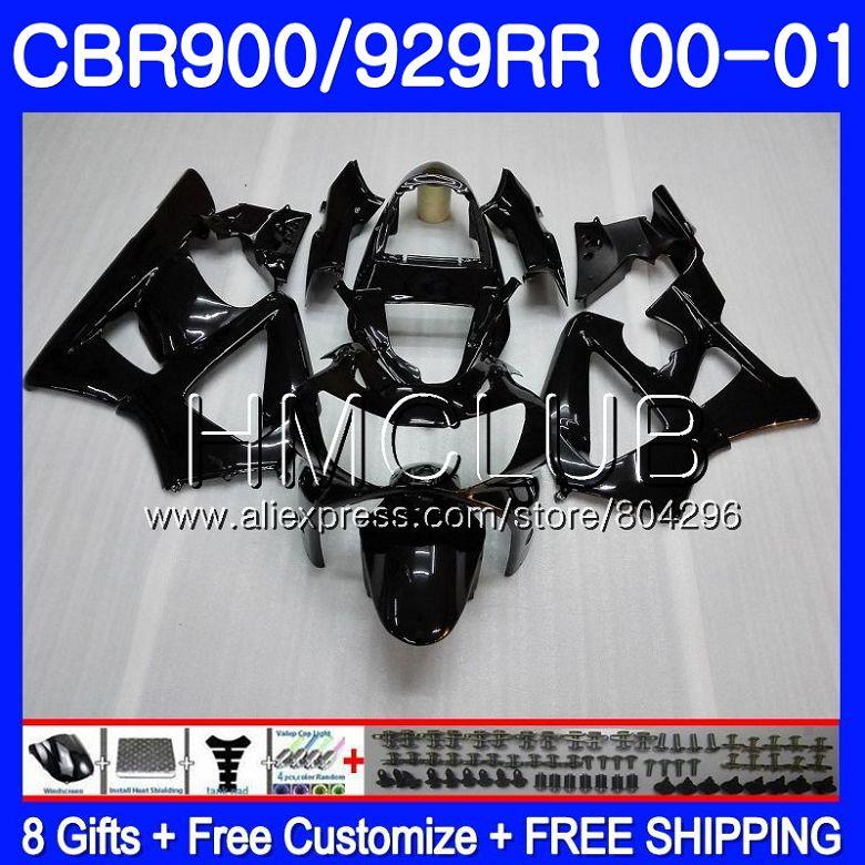 Corps noir Brillant Pour HONDA CBR900 RR CBR 929 RR CBR 900RR CBR929RR 2000 2001 68HM. 2 CBR 929RR CBR900RR CBR929 RR 00 01 Carénage