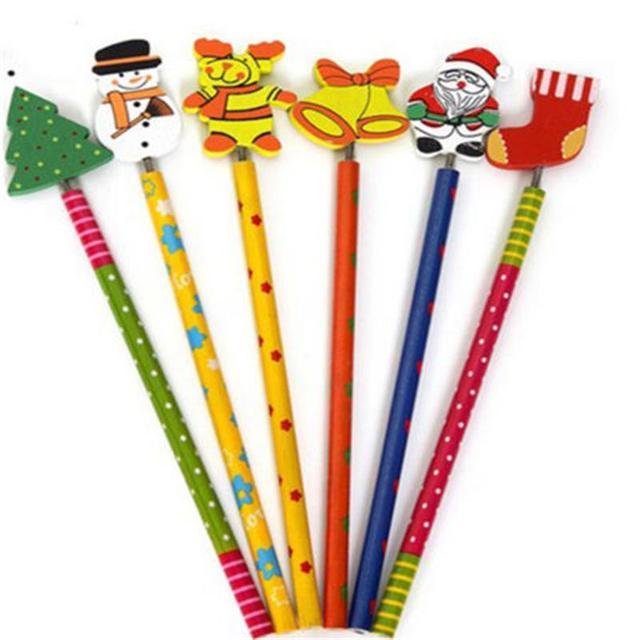 6PCS Creative  Children Stationery Pencil Korean Wooden School Desk Use Christmas Drawing Writng Pencil Standard Pencil 4