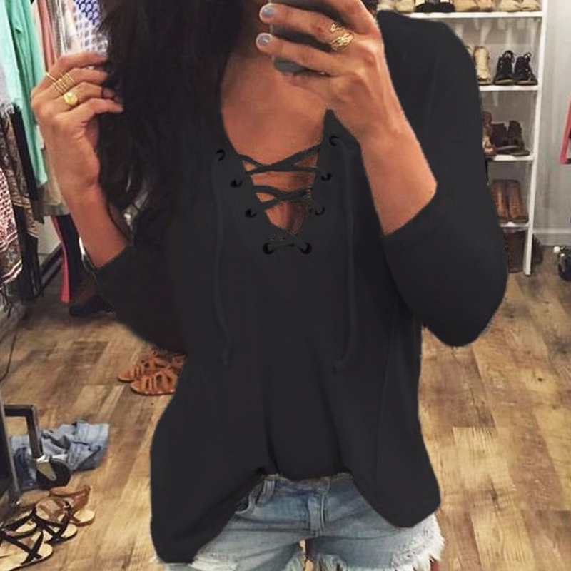 2017 Women Hoodies Sexy V neck Lace Up Long Sleeve Casual Loose Sweatshirts Pullover Ladies Blousas Top Shirt