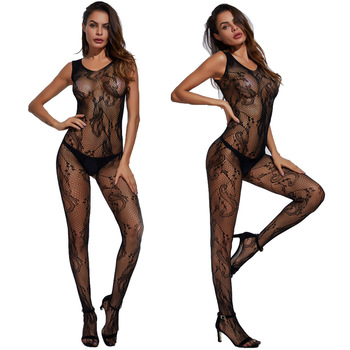 Sexy Mesh Novelty & Special Use Open net Women Stocking Exotic Apparel Jumpsuit Full Body Black Stockings Teddies & Bodysuits