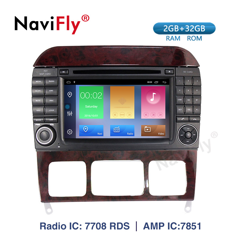 Navifly! Android 9.1 Car dvd radio audio Player For Mercedes Benz S Class S280 S320 S350 S400 S500 W220 W215 GPS Navi WIFI RDS