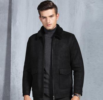 Original ecological fur one Male Classic Thick Velvet Coat Fashion jacket Winter new Men Business casual Lapel leather jacket