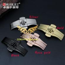 Noir Argent Or Rose or 18*5mm 19*6mm 21*6mm 23*6mm 25*6mm 27*6mm Double Bouton-Poussoir Papillon Bande de Montre Boucle