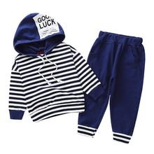 أطقم ملابس أولاد 2018 طفل فتاة موضة ملابس مخطط هوديي مجموعة خريف شتاء ملابس ل 1 2 3 4 5 6 سنة صبي