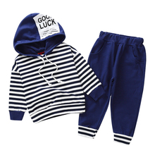 Baby Boys Clothing Sets 2018 Toddler Girl Fashion Outfits Striped Hoodie Set Fall Winter Clothes for 1 2 3 4 5 6 Year Old Boy