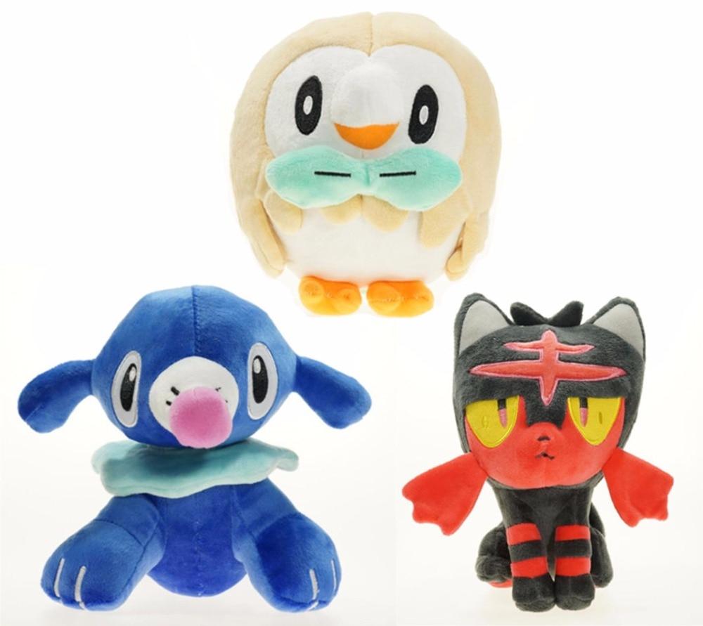 ФОТО Starter Pokemon Sun Moon Plush Toys Rowlet Litten Popplio Doll Stuffed 3pc/set
