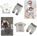 Free Shipping 2016 summer Little Monsters Cotton baby infant boy girl clothing set t-shirt + pants 2pcs children kids clothes