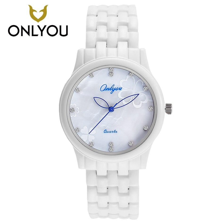 ONLYOU White Ceramic Watches Casual Quartz Watch Fashion Women bracelet Wristwatch Female Clock Charm Watch relogio feminino l 10 women s stylish petals style bracelet quartz analog wristwatch golden white 1 x lr626