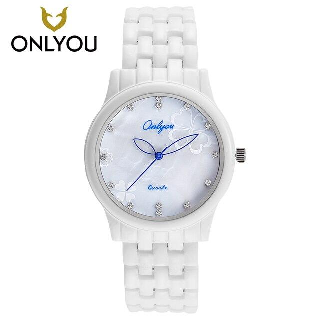 afc2416def409 ONLYOU الأبيض السيراميك الساعات ساعة كورتز العارضة أزياء المرأة سوار ساعة  اليد الإناث ساعة سحر ووتش