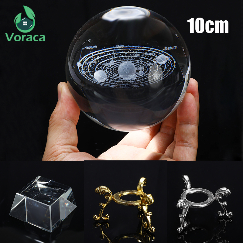 100mm K9 Solar System Crystal Ball Miniature Laser Home Decor Glass Globe 3D Crystal Ball Table Ornament Gift Photography Prop|Decorative Balls| |  - title=