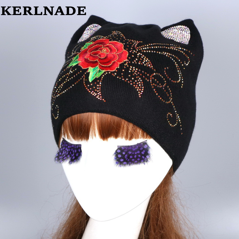 wholesale women fashion wool winter hat with fox mink pompom luxury rhinestone skullies girl beauty beanies woman casual gorros
