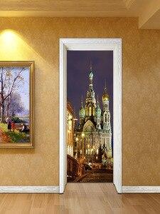 Image 5 - 러시아 성 영국 빅 벤 3d 도어 스티커 벽화 아트 벽지 포스터 스티커 자기 접착제 이동식 홈 도어 데칼