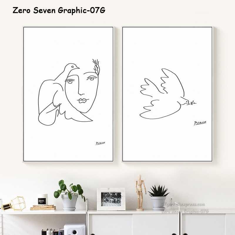 Picasso Colomba della Pace Astratta Linea in Bianco E Nero di Arte Tela Cancas per pittura Stampa Poster Immagine Della Parete del Salone Complementi Arredo Casa