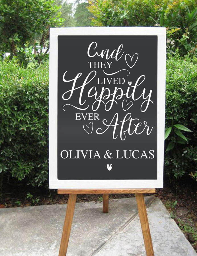 Decal Only  Custom Wedding Decal Quotes They Lived Ever And Happily After Personalized Name Vinyl Sticker Hot Sale WD01 image