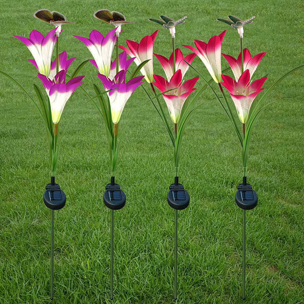 Garden Solar Lights Outdoor Waterproof Solar Power Lamp with Butterfly/Dragonfly Flower Fairy Light Christmas Wedding Decoration