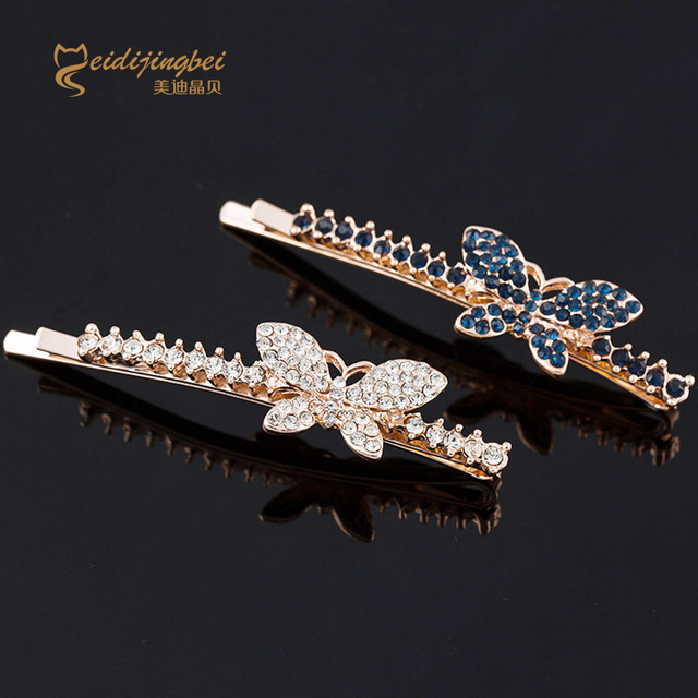 Rhinestones hair pins for women butterfly flower zinc alloy ladies