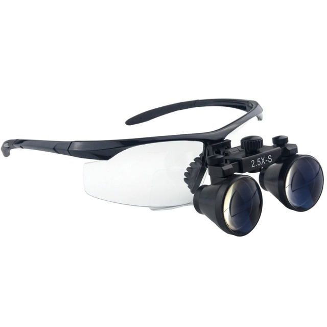 2.5x Magnification Professional Loupes with Black BP Frame for Dental Surgical Jeweler Hobby 280-380mm Working Distance